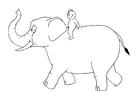 Bilde å fargelegge 07b. elefant med en person