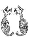 Bilde å fargelegge 2 katter