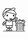 Bilde å fargelegge Ã¥ kaste søppel i søppelbøtten