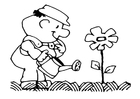 Bilde å fargelegge Ã¥ vanne blomstene