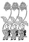 Bilde å fargelegge Asia - gule krysantemum bærere