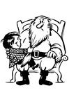 Bilde å fargelegge barn med julenissen