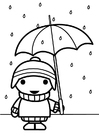 Bilde å fargelegge barn med paraply