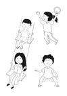 Bilde å fargelegge barn som leker