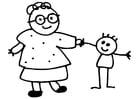 Bilde å fargelegge bestemor og barn