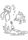 Bilde å fargelegge blekksprut og fisk med flaske