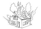 Bilde å fargelegge brann i hus