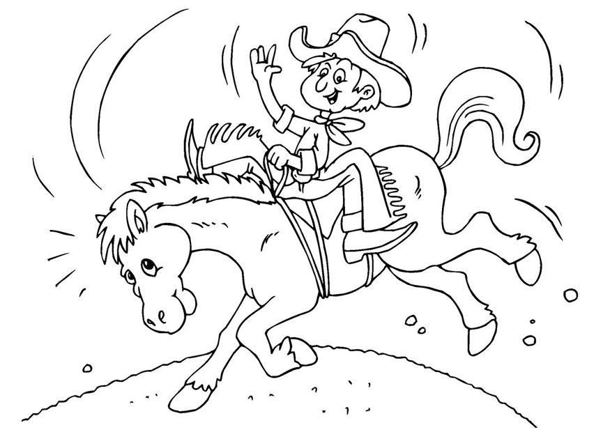 bilde å fargelegge comboy på hest  gratis bildene for