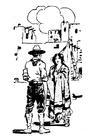 Bilde å fargelegge cowboy med kvinne
