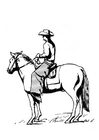Bilde å fargelegge cowboy pÃ¥ hest