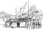 Bilde å fargelegge dampskip