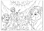 Bilde å fargelegge Daniel i løvehulen