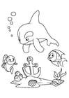 Bilde å fargelegge delfin og fisk med anker