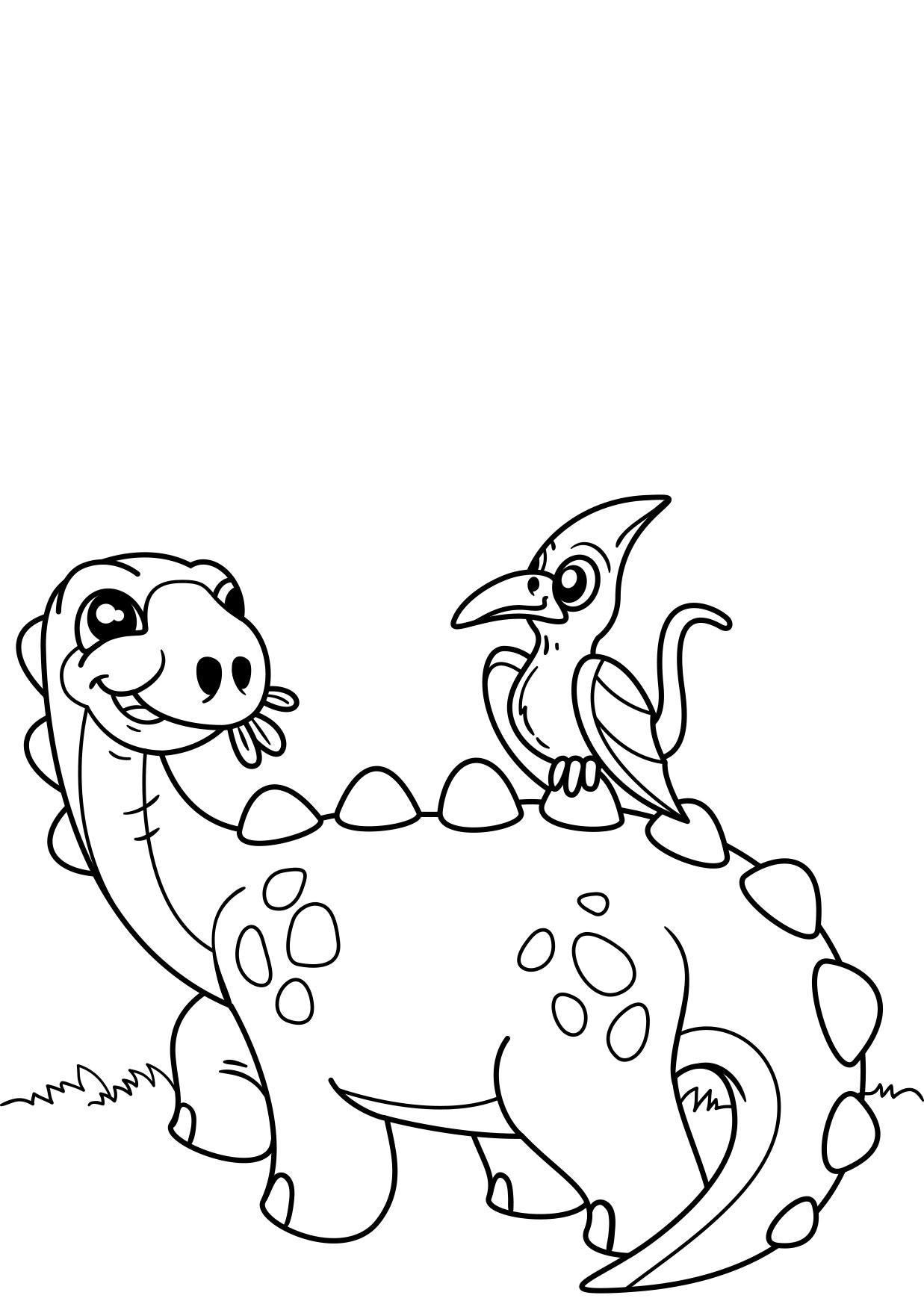 bilde 229 fargelegge dinosaur med fugl gratis bildene for