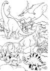 Bilde å fargelegge Dinosaurer i landskapet