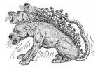 Bilde å fargelegge djevelhund - cerberus
