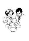 Bilde å fargelegge doktor med baby