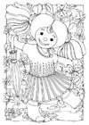 Bilde å fargelegge dukke - jente