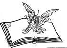 Bilde å fargelegge en fe pÃ¥ en bok