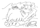 Bilde å fargelegge en fet katt