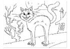 Bilde å fargelegge en katt som freser