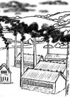 Bilde å fargelegge fabrikker - forurensning