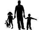 Bilde å fargelegge far med barn