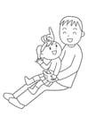 Bilde å fargelegge far og barn