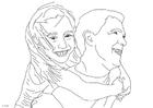 Bilde å fargelegge far og datter