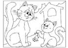 Bilde å fargelegge farsdag - katter