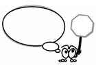 Bilde å fargelegge figur med snakkeballong og stopp skilt