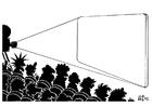 Bilde å fargelegge filmvisning i hvitt