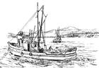 Bilde å fargelegge fiskebÃ¥t