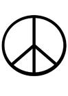Bilde å fargelegge fredstegn