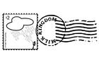 Bilde å fargelegge frimerke og poststempel