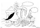 Bilde å fargelegge fugl i restauranten