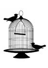 Bilde å fargelegge fugler ut av buret
