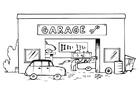 Bilde å fargelegge garasje med tekstet skilt