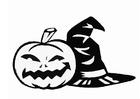 Bilde å fargelegge gresskar og hatt, Halloween