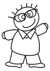 Bilde å fargelegge gutt med briller