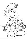 Bilde å fargelegge gutt med gave