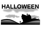 Bilde å fargelegge Halloween landskap
