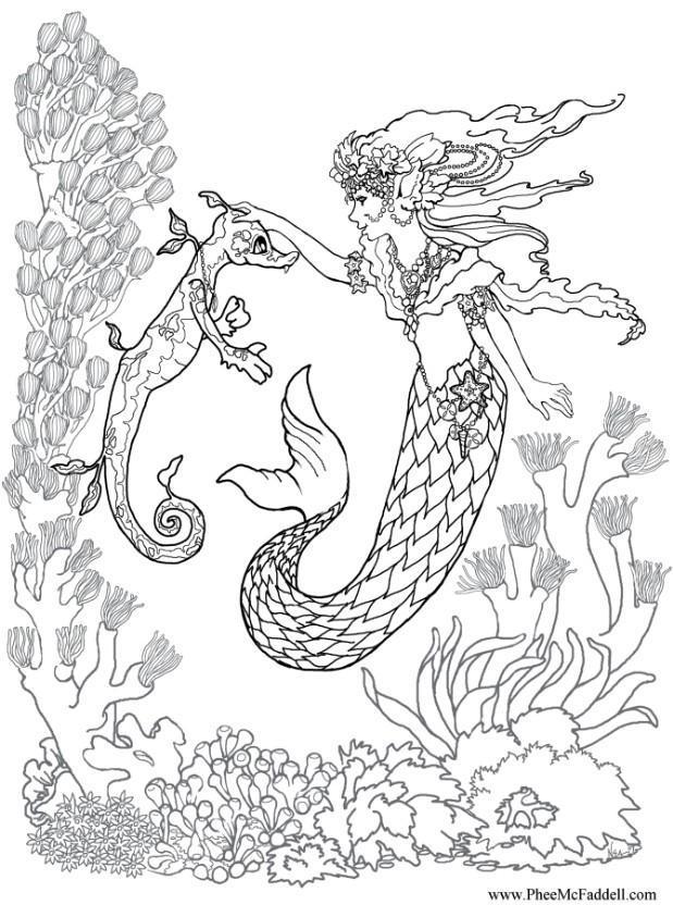 Bilde fargelegge havfrue og sj hest
