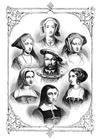 Bilde å fargelegge Henrik VIII og hans 6 hustruer