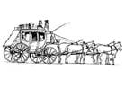 Bilde å fargelegge hester med vogn