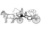 Bilde å fargelegge hester og vogn