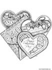 Bilde å fargelegge hjerter- San Valentin