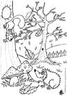 Bilde å fargelegge høst - pinnsvin og ekorn