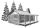 Bilde å fargelegge hytte