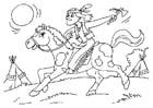 Bilde å fargelegge indianer pÃ¥ hest